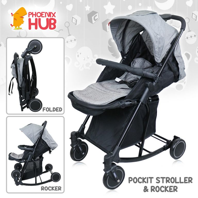 PhooenixHub Baby Stroller Rocker Pocket Travel Stroller T609 Folding Convertible for Baby 0 to 3 Years Old pockit
