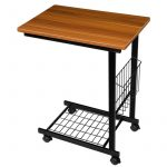 LEDMOMO HOMEMAXS Sofa Side Table C Table with Wood Finish and Steel Construction