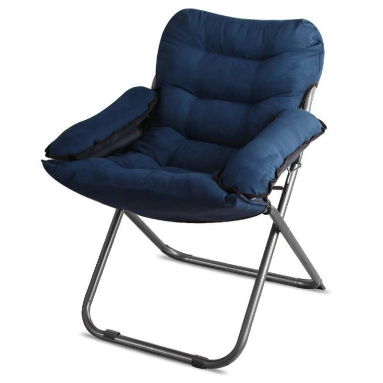 Folding Lazy Sofa Single Sofa Chair Soft Thickened Cushion Short Plush Leisure Computer Chair Dormitory Home Bedroom Balcony Recliner
