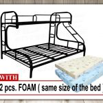 Tailee Furniture Detachable Double Deck Steel Bed Frame (Black) with 4 inches Foam with Cover