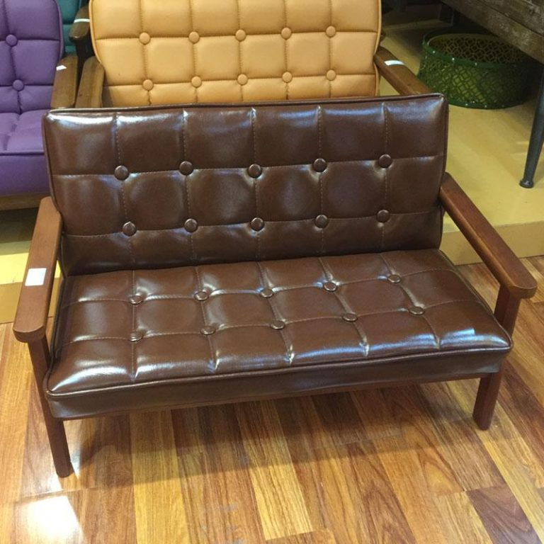 Vintage Wood Children Double Small Sofa Leather Stool Children's Room Furniture Storage Chair Children's Photographic Prop