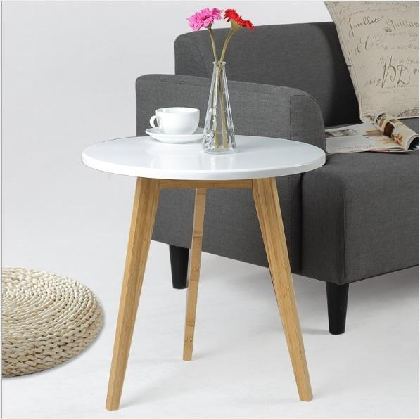 (50x51cm) Modern Design Bamboo Round Side Table Minimalist Tea Table Coffee Table Living Room Sofa craft Table - intl