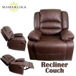 MK Luxury Convertible Leather designed Single Recliner chair Lazy seat Home cinema Sleeper Lounge Couch Sofa bed (Brown)