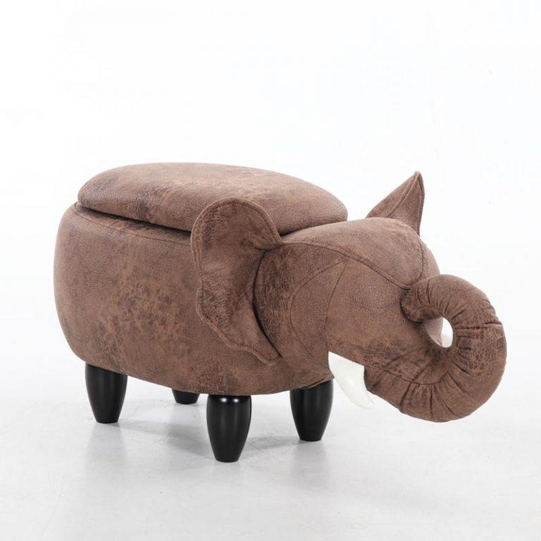 KANG Elephant Shoes Bench European Animal Stool Solid Wood Footstool Children Storage Stool Creative Animal Storage Stool Sofa Stool
