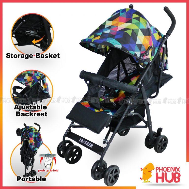 PhoenixHub Vibrant Foldable Baby Trolley Pram Jogger Toddler Stroller