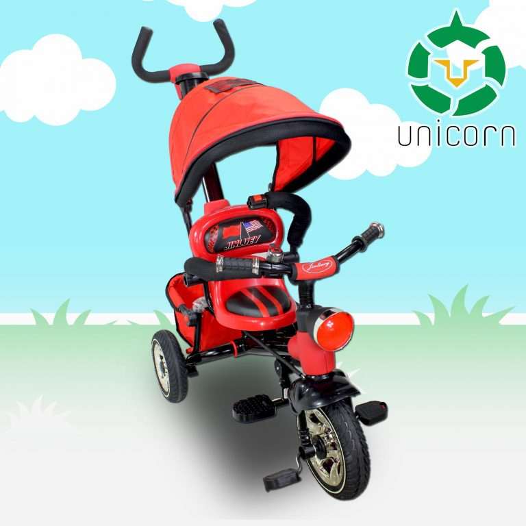 New Unicorn JT2016-1 Kids Ride On Tricycle Stroller Baby Push Bike Trike with Umbrella Canopy