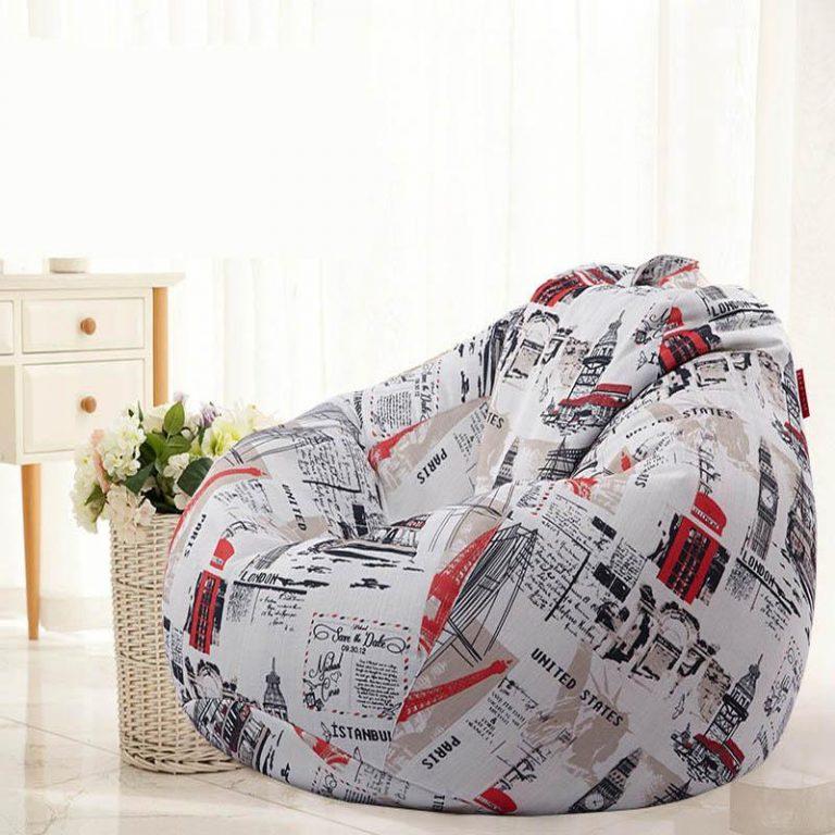 Removable Washable Cotton&Linen Bean Bag Chair Bed Comfort Children Indoor Outdoor Cozy 80x90cm