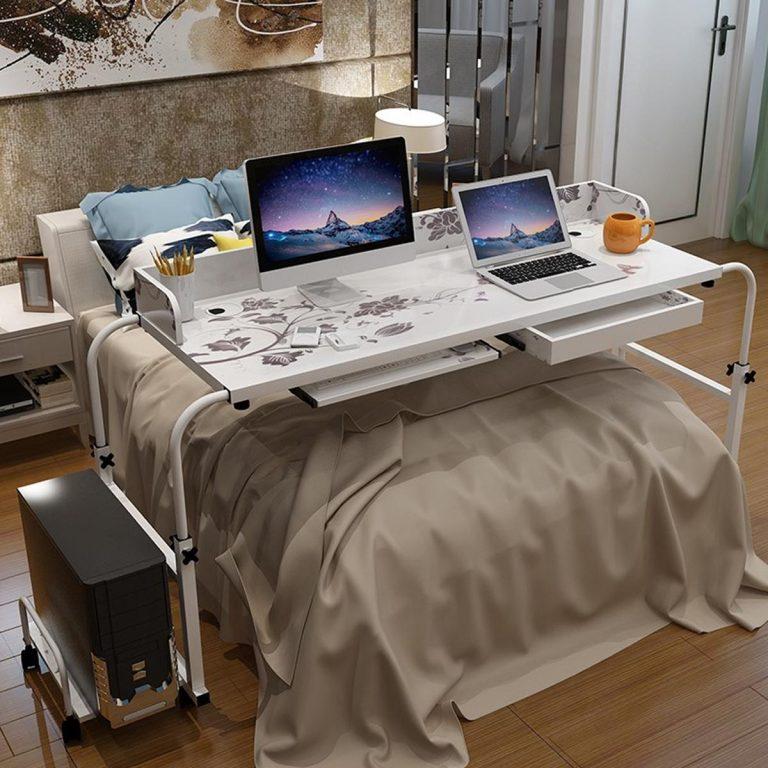 Home Rolling Adjustable Computer Desk Table Over Bed Laptop Storage Furniture - intl