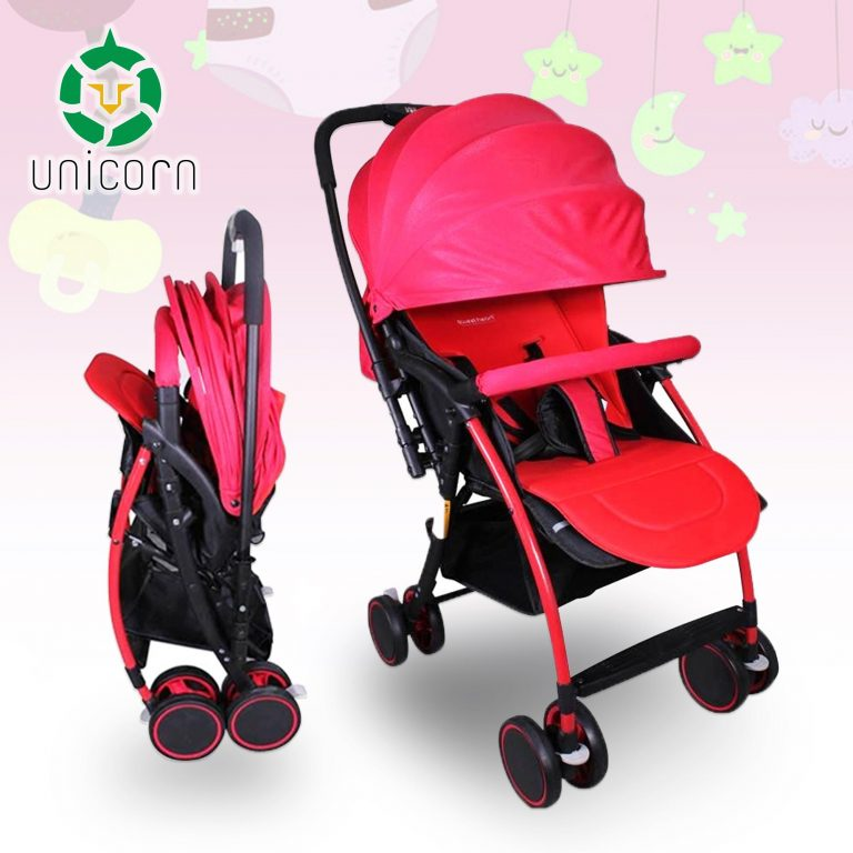 Unicorn GAB T05 Portable Folding Newborn Infant Baby Stroller Reversible Handle (Red)