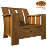 Linden Teak Handcrafted Solid Teak Wood Minimalist Solid 1 Seater Sofa Chair Furniture (Gold Teak Series Indoor Design)