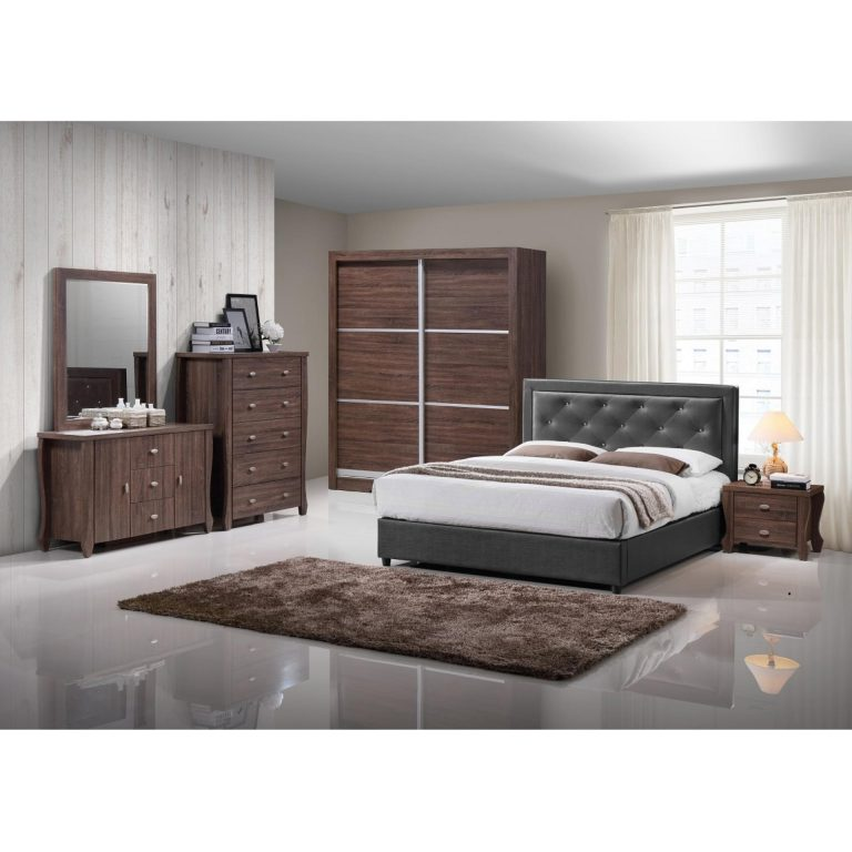 """ihome Jude King Size Bed 72""""x78"""" (Two Tone Tar Gray)"""
