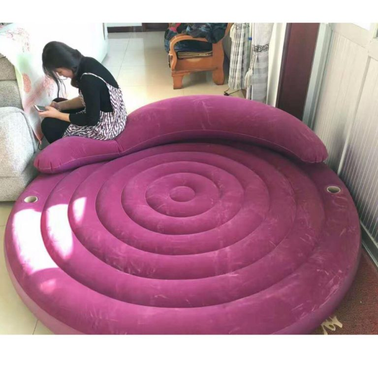 Intex New Ultra Daybed Lounge Air Bed Purple Flocked Inflatable Round Sleeping Leisure Sofa Guest Bed W/ Backrest cupholder - intl