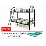 Metal Double Deck Bed (36x36x75) with 2pcs Uratex Foam 4x36x75