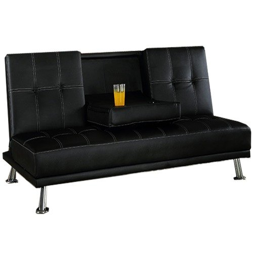 Modern Elegant Leather Sofabed with Cupholders