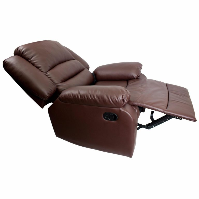 Phoenixhub PREMIUM Convertible Leather designed Single Recliner chair Lazy seat Home cinema Sleeper Lounge Couch Sofa bed (BROWN)