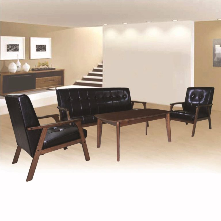 Tailee MATILDA 3-1-1 Seater PU Leather Sofa Set with Center Table Solid Rubber Wood (Black)