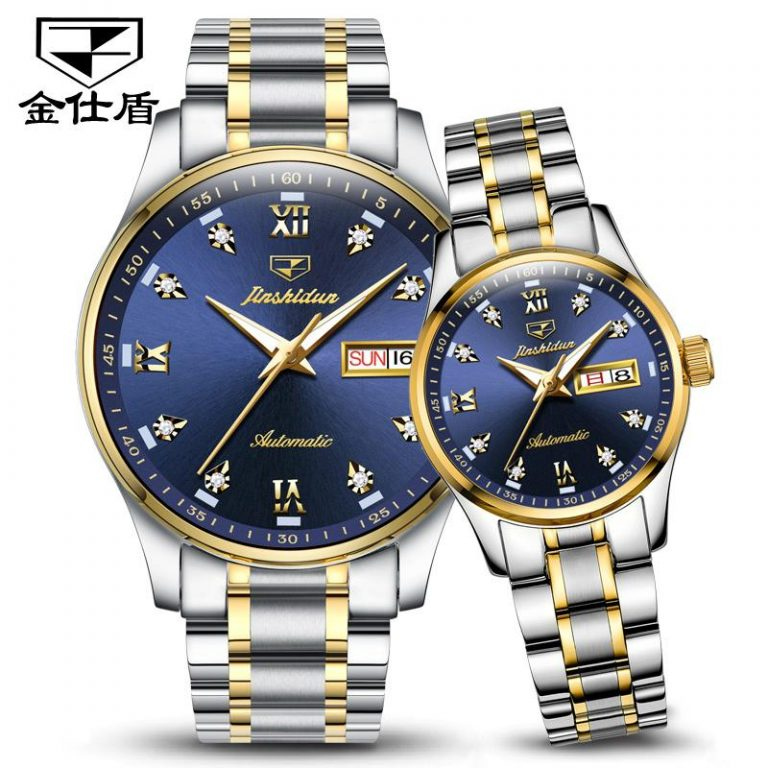 Free Lettering JSDUN Product Couple watch watches a Fully Automatic Analog watch watches Fashion Clean Steel Double Calendar Waterproof