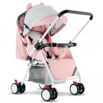 Portable Folding Outdoor Double Way Lying Sitting Stroller with 4 Wheels for Kids Infant Baby
