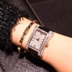 Fashion Luxury Glorious Ladies' Style Square watch watches women Leather Belt women watch watches Man-made Diamond watch watches Fashion watch watches Quartz