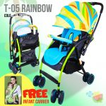 T05 Colorful Tropical Design Newborn Infant Baby Stroller (Multicolor)with Free Baby Carrier