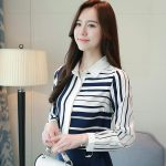 2018 Autumn Clothing New Style Korean Style Leisure Striped Shirt Slimming women dress for women Long Sleeve Chiffon Tops