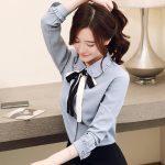 La Fashion new Korean chiffon retro shirt bow blouse