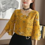 INWPLLR Korean Style Tops Women's Fashion Chiffon Blouse Floral Print Shirts Women Casual Summer Flare Sleeve Blouses Women Tops