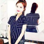 korean fashion short sleeve stripe blouse for women  #836