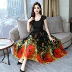 Veecome Women A-line Dresses Summer Casual Big Hem Dress Korean Fashion Print Beach Dress