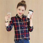 KOREAN FASHION #737 LADIES LONG SLEEVE CHECKER BLOUSE For Women For idp shop
