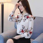 La Fashion new print V-neck slim wild lantern sleeves blouse