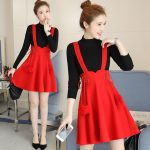 2019 Spring Clothing New Style Korean Style Long Sleeve Hipster dress for women women Fashion Slimming Suspender Strap Two Piece Set Skirt Fashion