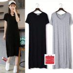 Short Sleeves Long Dress Korean Dress -Honey