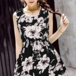 Korean Summer Midi Mini Dress (Free Size) BLACK