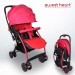 BBL GAB T05 Portable Folding Newborn Infant Baby Stroller Reversible Handle (Red)