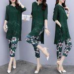 Women Fashion Chiffon Floral Printing Seventh Loose Pants Leisure Two Pieces Plus Size Suit
