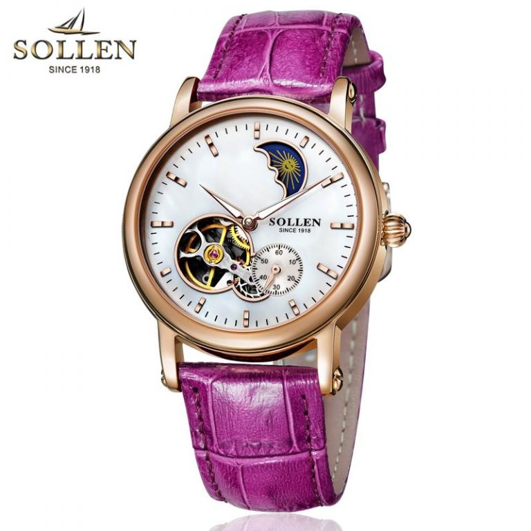 SOLLEN Ladies' watch watches women Waterproof Fully Automatic Analog watch watches women watch watches Fashion Night Light Hollow out Leather watch watches