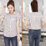 korean fashion short sleeve stripe blouse for huilishi