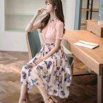 Fashion korean flower dress blacke dress  embroidered dress  elegant dress flower dress