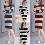 F&F Knitted stripe dress korea Cod long sleeve knitted
