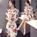 Korean fashion floral polo dress