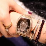 Luxury Handsome Full of Crystals Cross Steel watch watches Roman Numerals Tonneau-Shaped women watch watches Fashion watch watches