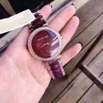 Michael Kors Parker Rose Gld-tone Plum Acetate Three Hand Watch - MK6412