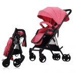 Four-way High View Portable Shock Absorbers Deck Trolley Stroller (Peach Pink)