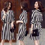 Korean New Fashion Casual Chiffon Stripe Polo Dress