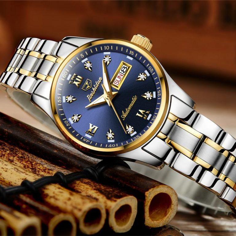 JSDUN Product women watch watches women Fully Automatic Analog watch watches Fashion Steel Belt Night Light Trend Double Calendar watch watches 8763