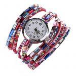 Women's Quartz Wrap Around Leather Bracelet Wrist Watch Pink