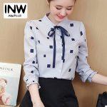 INWPLLR Women Blouses Squares Print Shirts Casual Long Sleeve Ladies Tops Autumn Chiffon Blouse Bow Women's Fashion Shirts