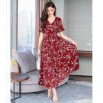 Spring Cow Korean Women V Neck Short Falbala Sleeves Floral Print Long Dress Leaf Print A Line Large Hem Beach Dress