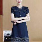 ECOO Fashion Korean Fashion Casual Embroidery Denim Dress